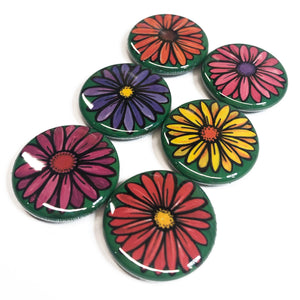 Gerbera Daisy Magnet or Pin Back Button Set - 1 inch - Colorful Flower Fridge Magnets or Pinback Badges