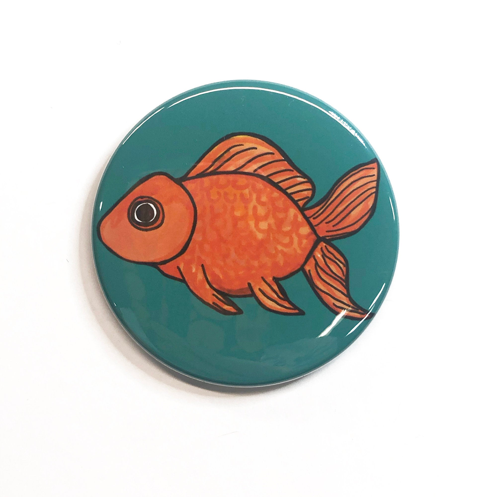 Cute Goldfish Magnet, Pin Back Button, or Pocket Mirror - Gold Fish