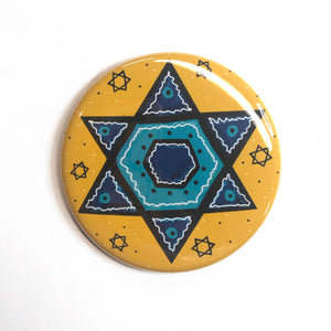 Blue Star of David Magnet, Pin, or Pocket Mirror - Jewish Fridge Magnets, Hanukkah Pinback Badges, or Purse Mirror