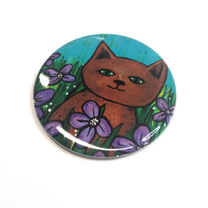 Brown Cat Magnet, Pin, or Pocket Mirror - Cat in Field of Purple Flowers