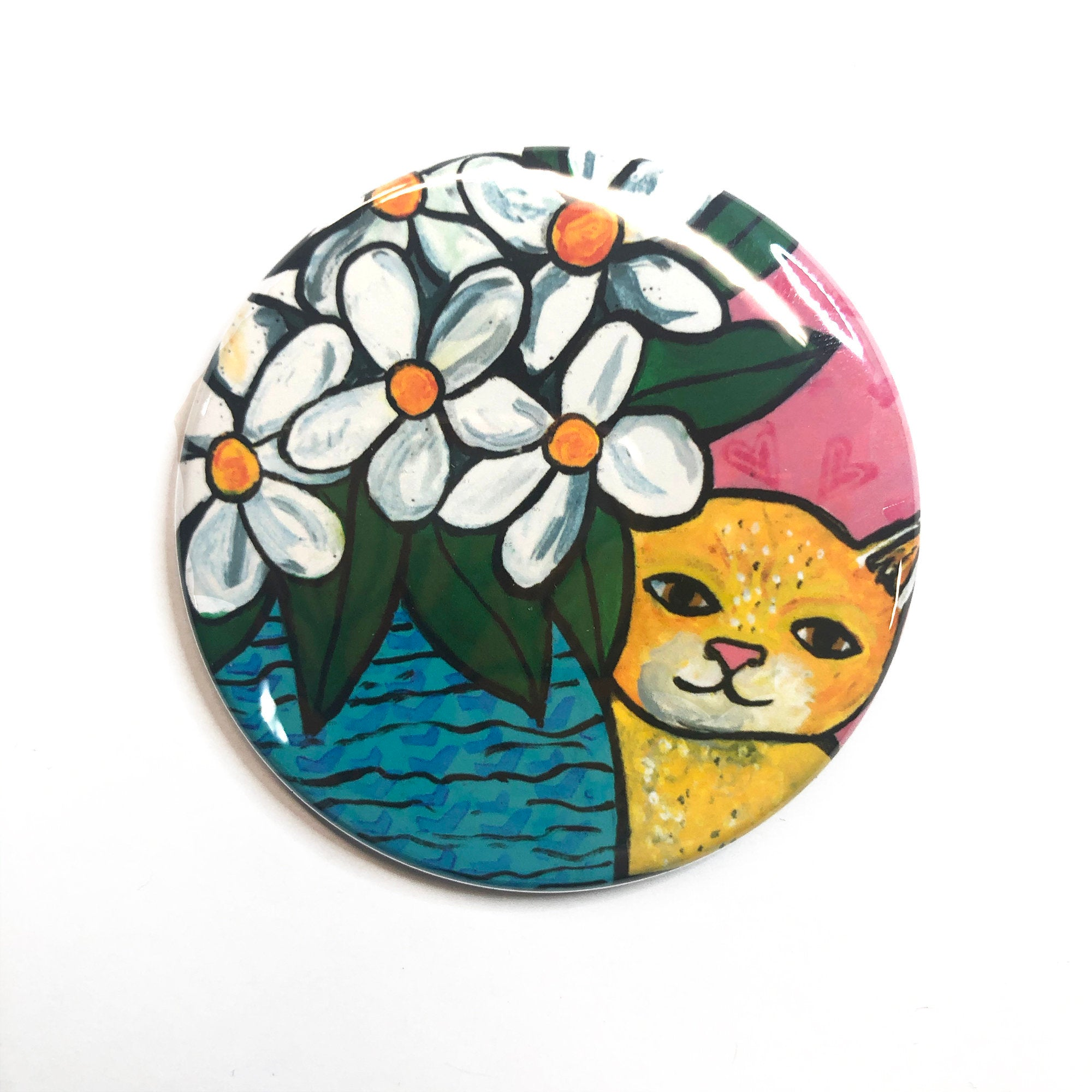 Cute Yellow Cat with White Flowers Magnet, Pin Back Button, or Pocket Mirror - Tabby Cat - Animal Lover Gift
