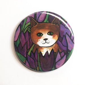 Brown Cat Pocket Mirror, Fridge Magnet, or Pin Back Button - Cat with Purple Tulips - Cat Lover Gift
