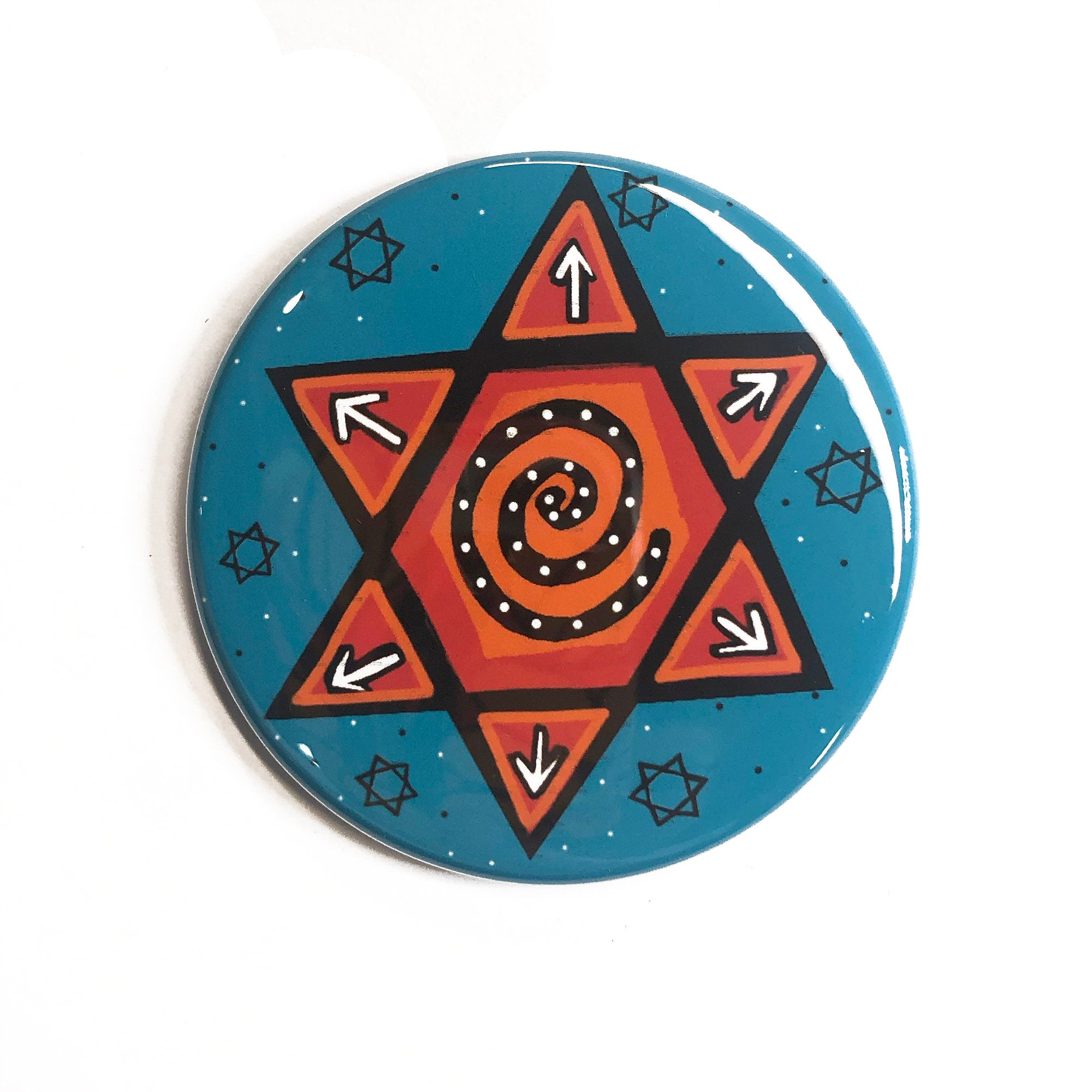 Jewish Star Magnet, Pin Back Button, or Pocket Mirror - Red Star of David on Blue - Hanukkah gift