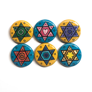 Star of David Magnet Set or Pin Back Button Set - Jewish Gift for Hanukkah, Rabbi, Teacher