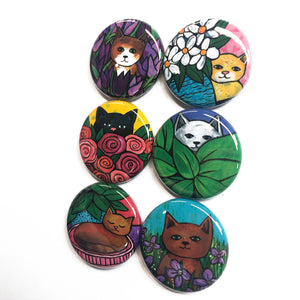 Cute Cat Magnet or Pin Back Button Set - Animal Fridge Magnets or Pinback Badges
