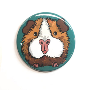 Cute Guinea Pig Magnet, Pin Back Button, or Pocket Mirror - Animal Lover Gift