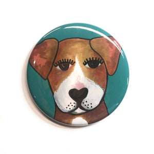 Cute Dog Magnet, Pin Back Button, or Pocket Mirror - Adorable Mutt