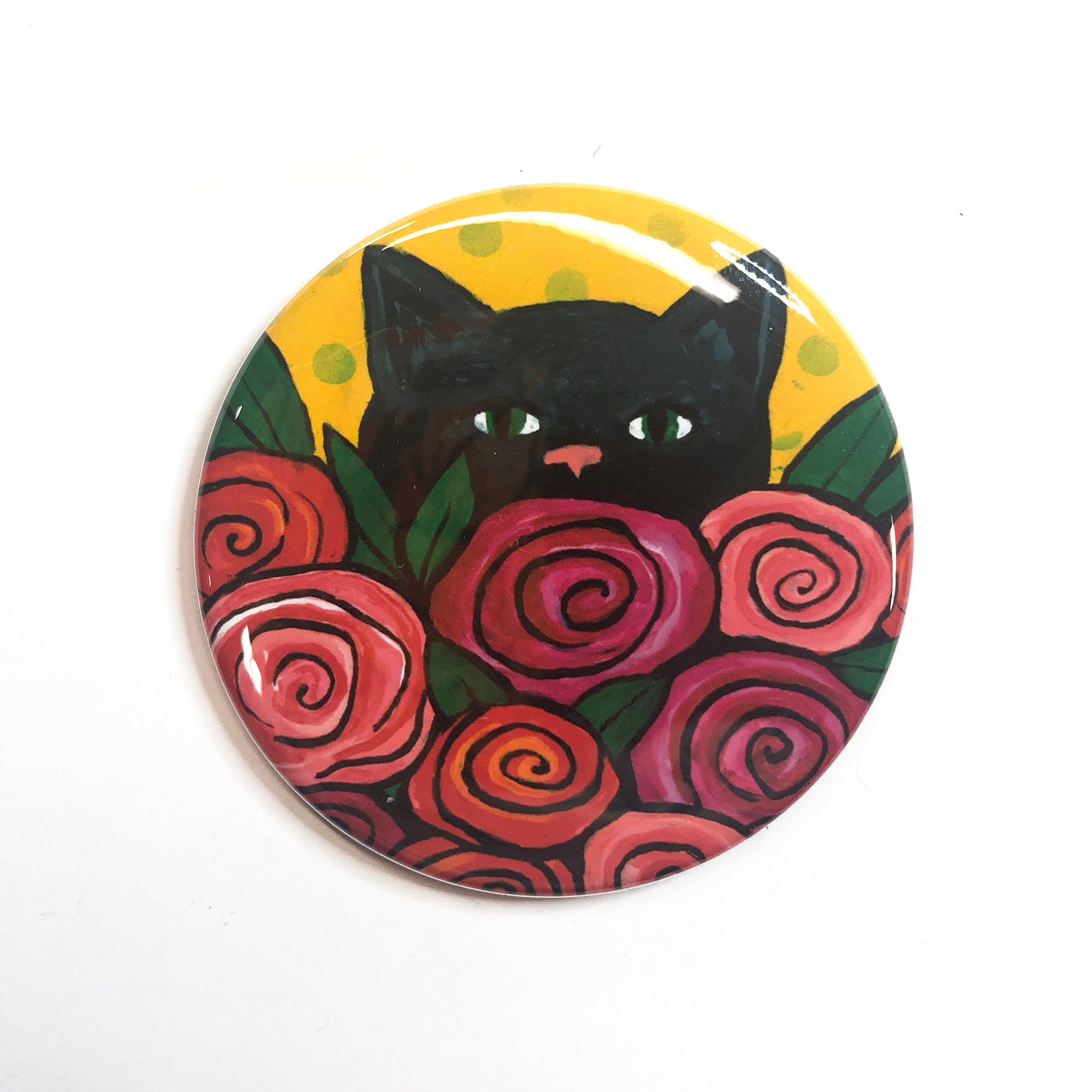 Black Cat Magnet, Pin Back Button, or Pocket Mirror - Rose Kitty - Cat Lover Gift