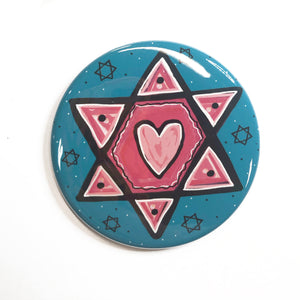 Pink Star of David Pin, Magnet, or Pocket Mirror - Star with Heart - Jewish Fridge Magnets, Hanukkah Pinback Badges, or Purse Mirror