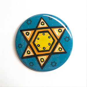 Blue and Yellow Star of David Pin, Magnet, or Mirror - Jewish Fridge Magnet, Pinback Badge, or Pocket Mirror