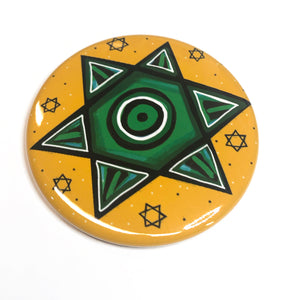 Green Jewish Star of David Magnet, Pinback Button, or Pocket Mirror - Hanukkah Gift
