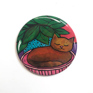 Adorable Sleeping Cat Magnet, Pin, or Pocket Mirror - Brown Cat - Animal Lover Gift