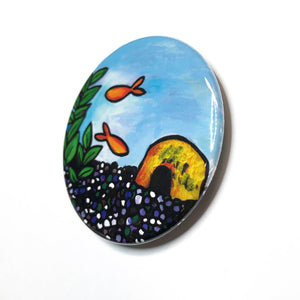 Goldfish Mirror, Magnet, or Pin - Gold Fish - 1 Inch, 1.25 inch, 2.25 inch fridge magnet, pinback button, pocket mirror