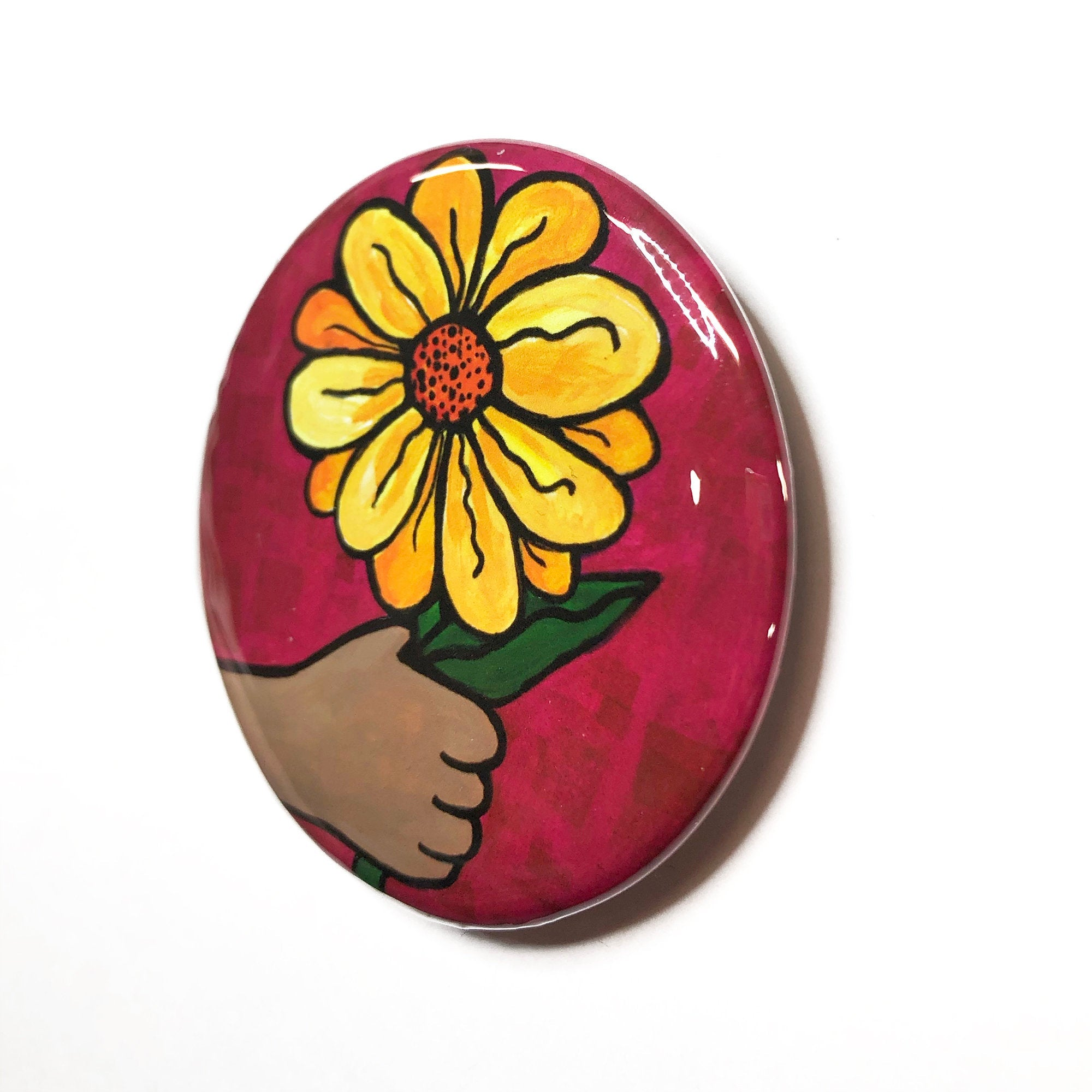 Yellow Flower Magnet, Pin Back Button or Pocket Mirror - Purse Mirror - Hand Holding Yellow Daisy