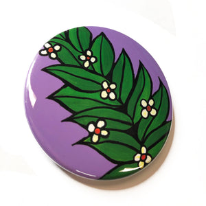 Blooming Branch Magnet, Pin Back Button, or Pocket Mirror - Green Leaves with White Flowers Fridge Magnet, Badge, or Purse Mirror