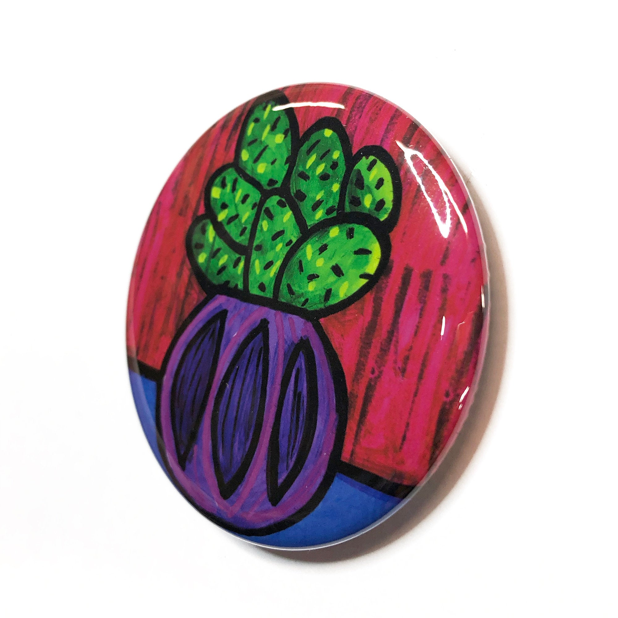 Colorful Cactus Magnet, Pin Back Button, or Pocket Mirror - Succulent Fridge Magnet, Pinback Badge, or Purse Mirror - Party Favor, Gift
