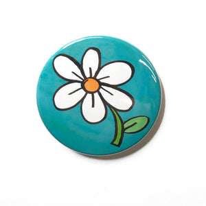 Cute Daisy Magnet, Pin Back Button, or Pocket Mirror - 1 inch, 1 1/4 inch, 2 1/4 inch - White Flower Fridge Magnet, Pinback Button