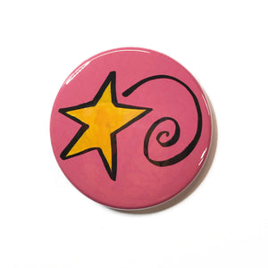 Shooting Star Magnet, Pin Back Button, or Pocket Mirror - Yellow Star on Pink - Magnet for Fridge, Board, or Locker - Pinback Button