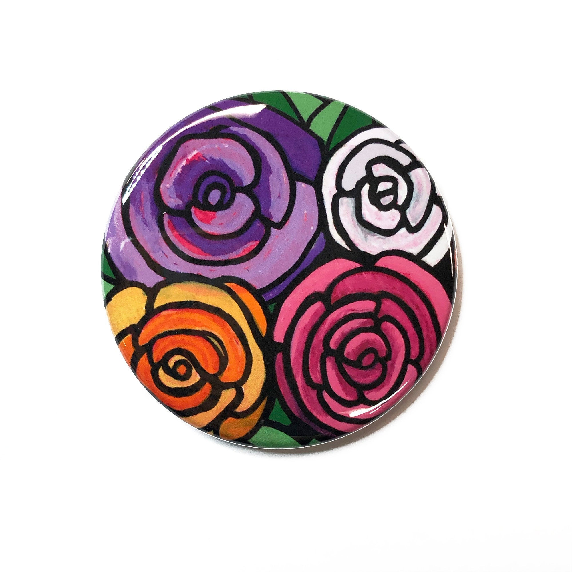Spring Rose Magnet, Pin Back Button or Pocket Mirror - Pink, Purple, Orange, and White Roses - Wedding Party Favor, Gift Under 5 Dollars