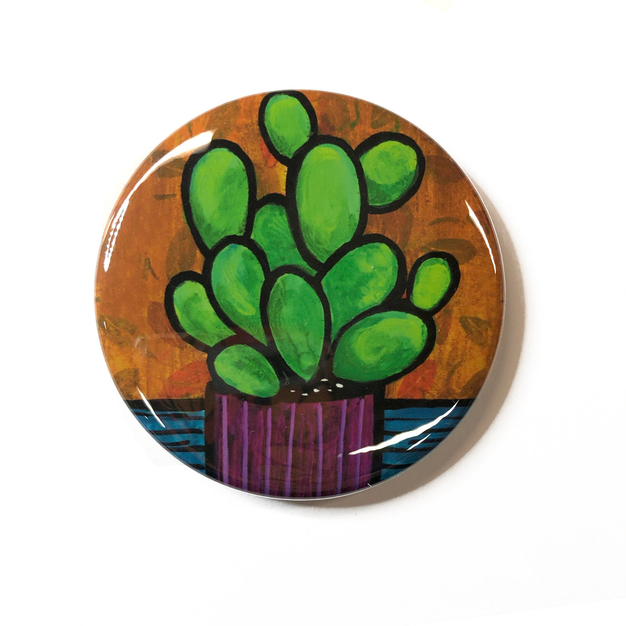 Cactus Magnet, Pin Back Button, or Pocket Mirror - 1 inch, 1 1/4 inch, 2 1/4 inch - Succulent Lover Gift, Cactus Plant