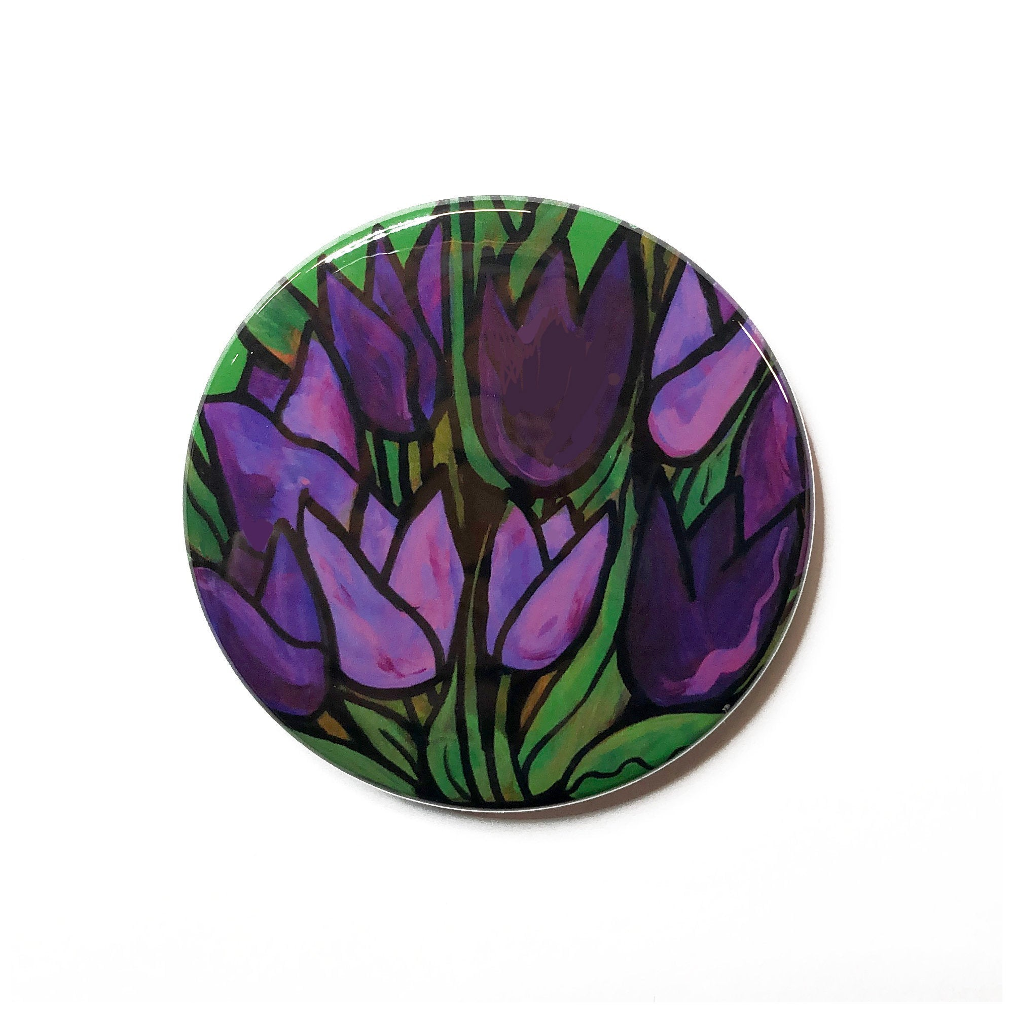 Purple Tulip Magnet, Pin Back Button, or Pocket Mirror  - Flower Magnet for Fridge, Locker, or Board or Flower Pinback or Purse Mirror