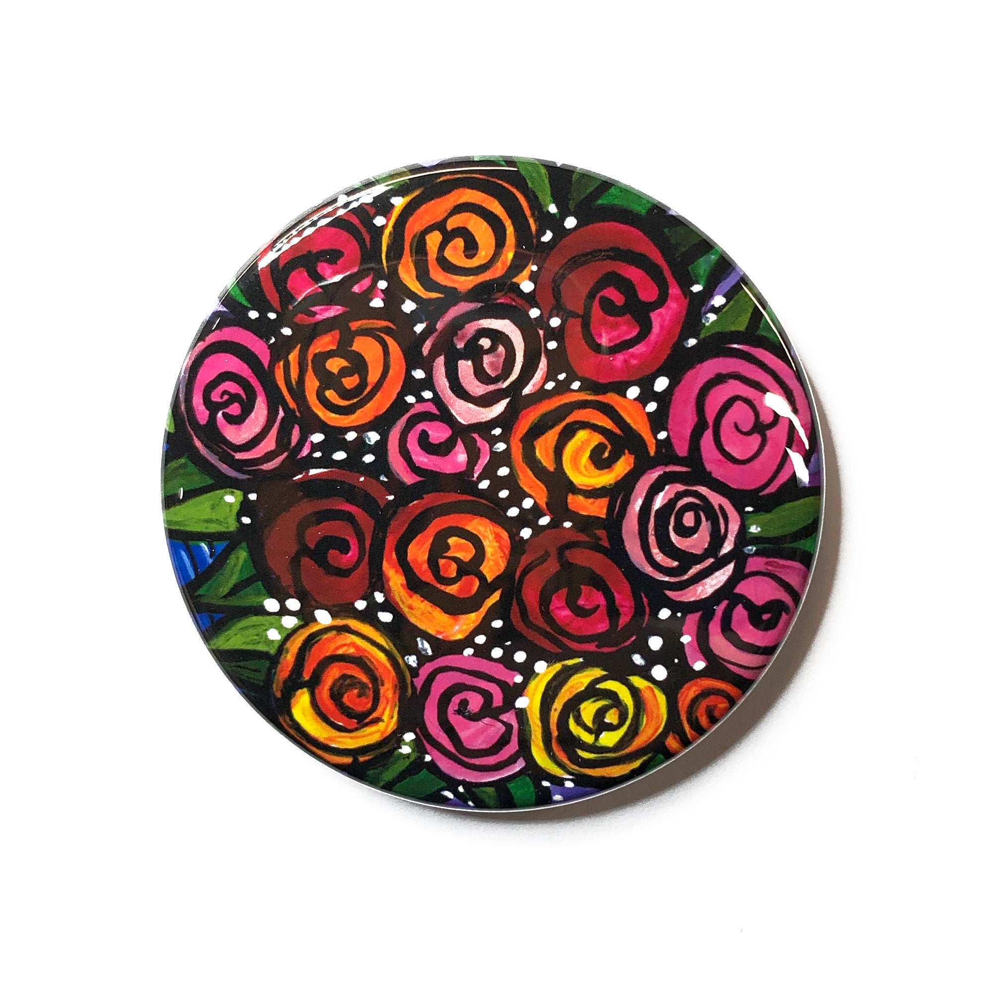 Colorful Roses Pocket Mirror, Fridge Magnet, or Pin Back Button - Small Gift or Party Favor