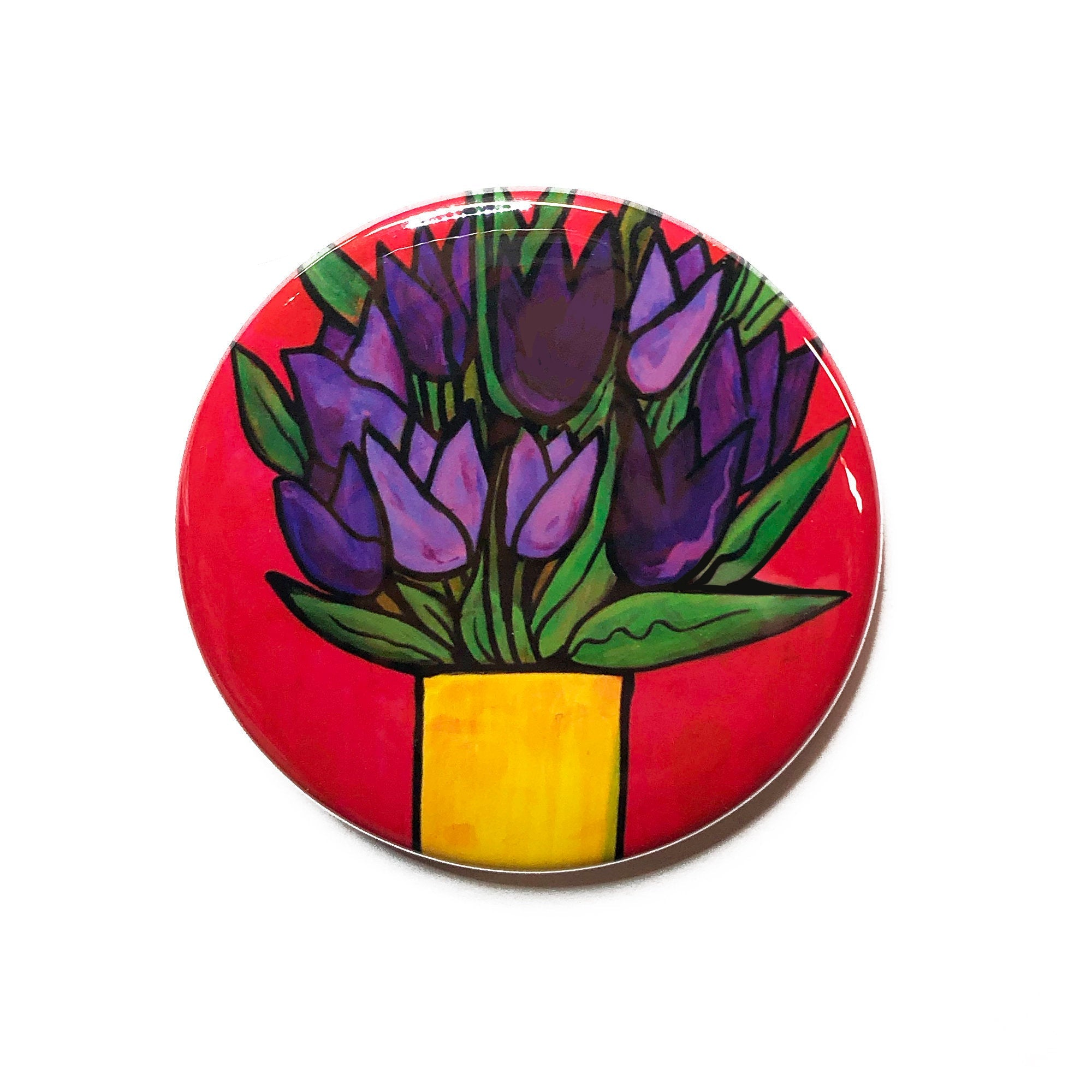 Purple Tulip Magnet, Pin Back Button, or Pocket Mirror - Purple Flowers in Vase - 1 inch, 1.25 inch, 2.25 inch