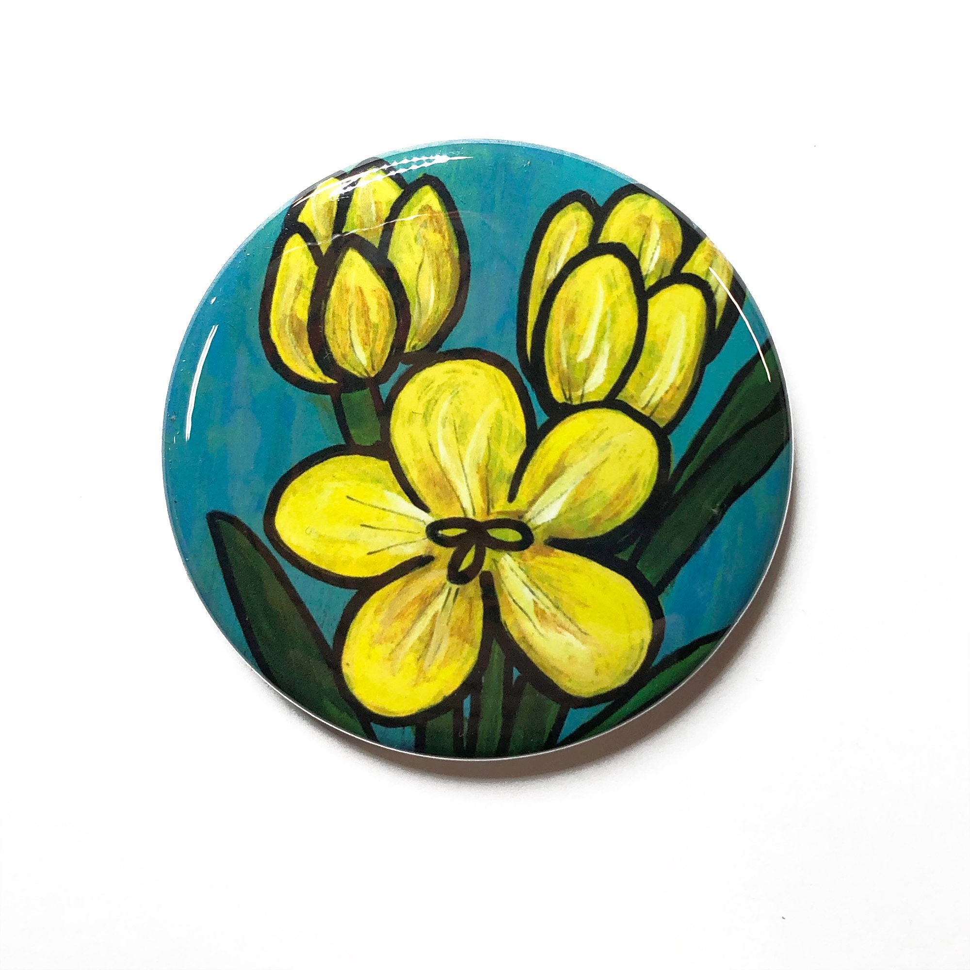Yellow Crocus Magnet, Pocket Mirror, or Pin Back Button - Flower Lover, Gardener Gift, or Spring Party Favor