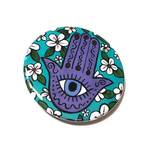 Cherry Blossom Evil Eye Hamsa Magnet, Pocket Mirror, or Pin Back Button - Hand of Protection Pinback, Fridge Magnet or Purse Mirror