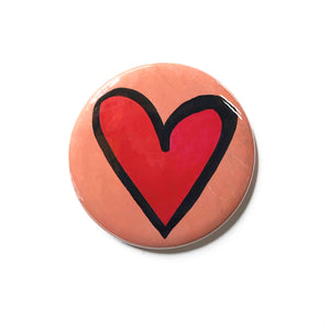 Red Heart Magnet, Pocket Mirror, or Pin Back Button - 1 inch, 1.25 inch, 2.25 inch - Love, Valentine's Day Gift