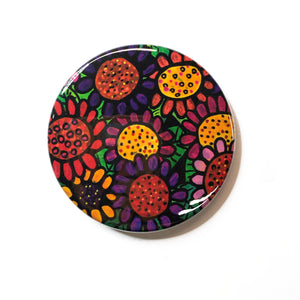 Colorful Posies Mirror, Magnet, or Pin - Whimsical Flowers - Pinback Button, Pocket Mirror, or Fridge Magnet