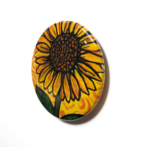 Sunflower Magnet, Pin Back Button, or Pocket Mirror - 1 inch, 1 1/4 inch, or 2 1/4 inch - Yellow Flower Fridge Magnet, Pinback, Purse Mirror