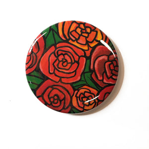 Red Roses Pocket Mirror, Fridge Magnet, or Pin Back Button - Floral Party Favor, Stocking Stuffer, Gift Under 5 dollars