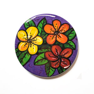 Happy Flower Magnet, Pin Back Button or Pocket Mirror - Colorful Floral Magnet for Fridge, Locker, or White Board, Flower Pin, Purse Mirror