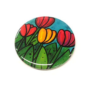 Happy Tulip Magnet, Pin Back Button, or Pocket Mirror  - Whimsical Flower Magnet for Fridge, Locker, or Board - Pinback or Purse Mirror