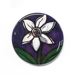 White Daffodil Magnet, Pin Back Button, or Pocket Mirror - Spring Flower - 1 inch, 1.25 inch, 2.25 inch