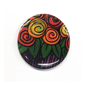 Rose Magnet, Pin Back Button, or Pocket Mirror  - Whimsical Roses Magnet for Fridge, Locker, or Board - Pinback or Purse Mirror