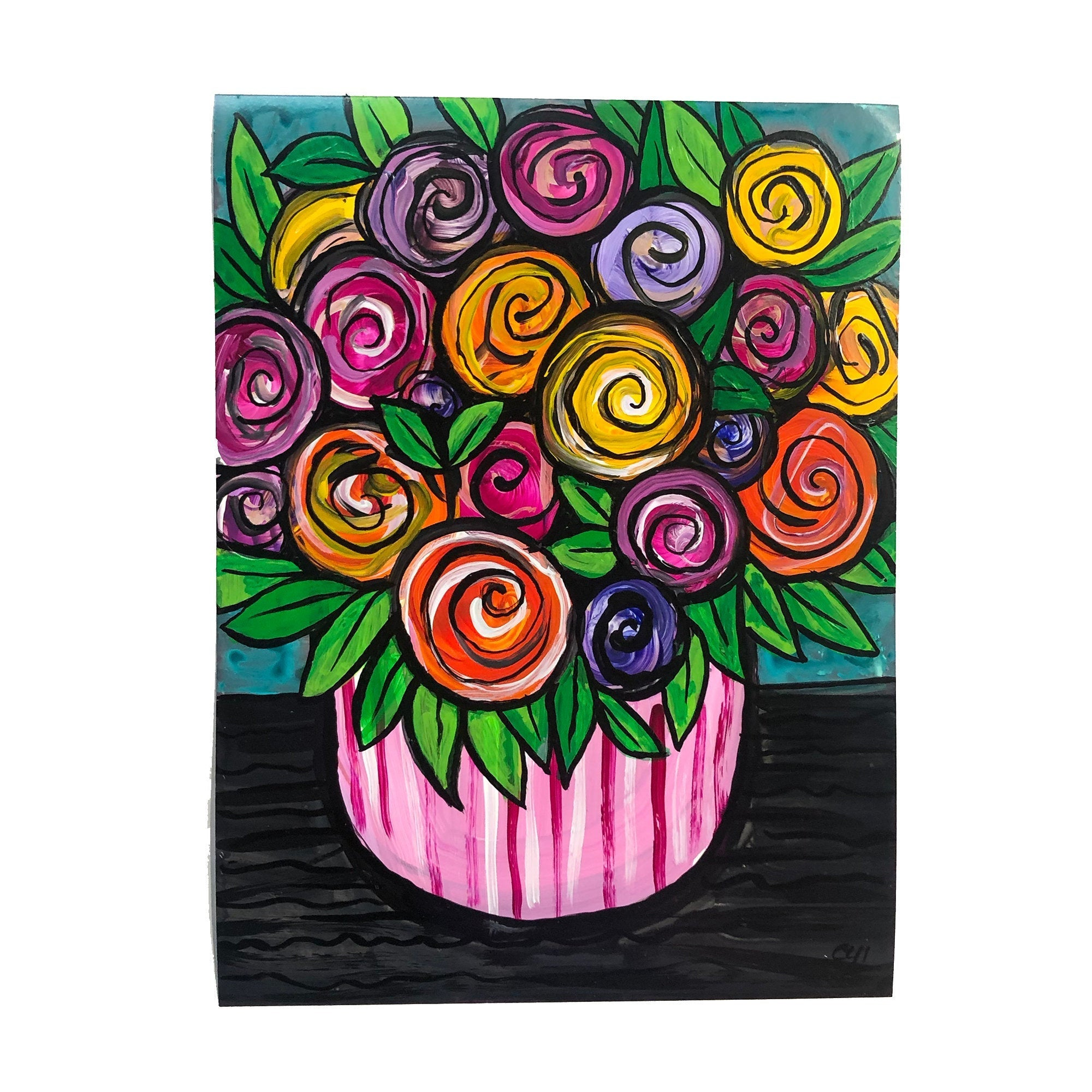 Whimsical Rose Painting on Paper - Colorful Unframed Art Work on Paper - 9x12 inches by Claudine Intner