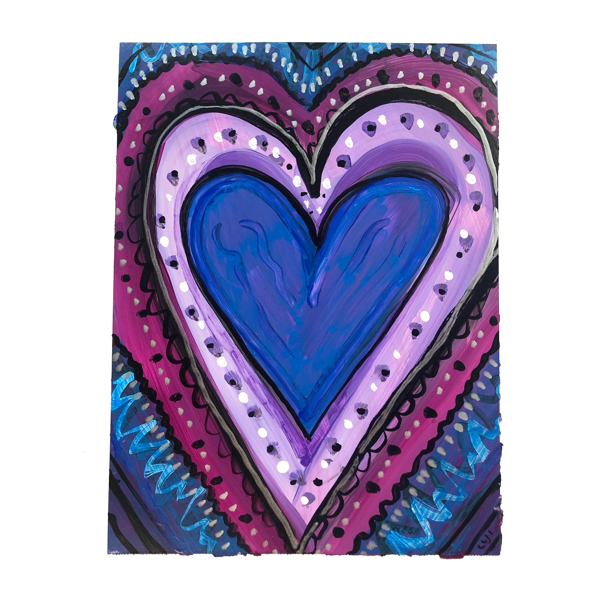 Whimsical Heart Painting on Paper - Original 9x12 Artwork on Yupo - Purple, Blue, and Magenta Art