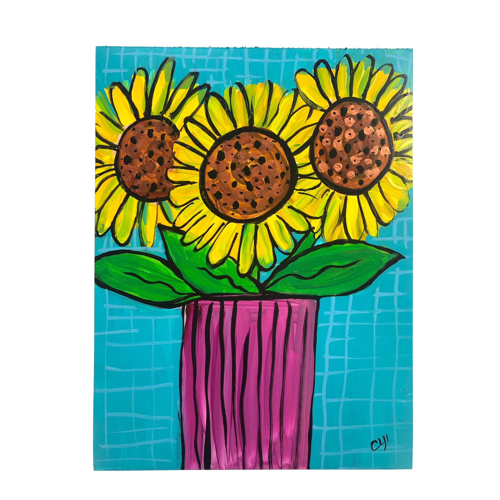 Whimsical Sun Flower Art on Paper - Original Sunflower Painting on Yupo - Cheerful Floral - 9 x 12 inches - Unframed - By Claudine Intner
