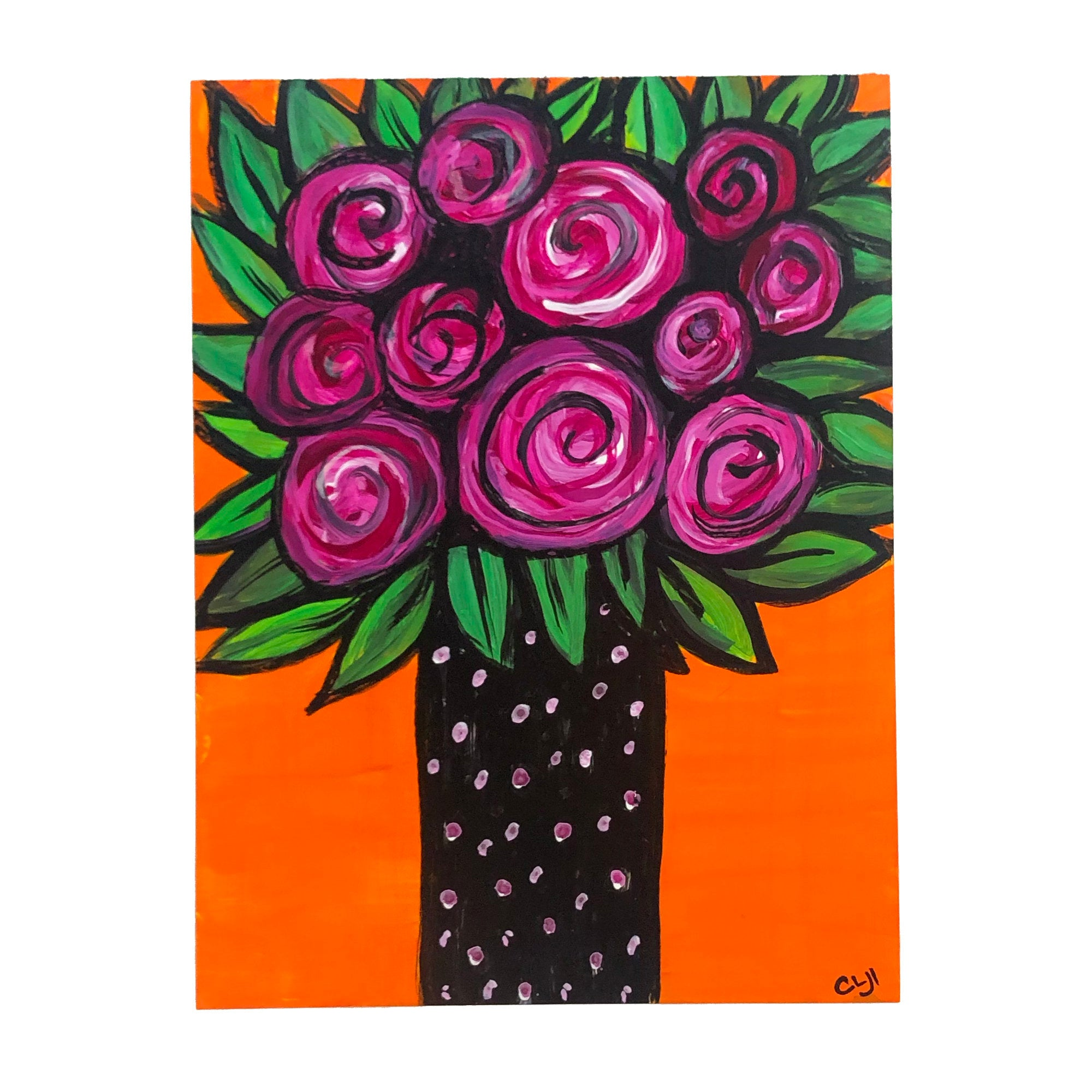 Magenta Roses in Vase Bold Painting on Paper with Bright Orange Background - Whimsical Flower Art on Yupo Paper - 9x12 unframed artwork