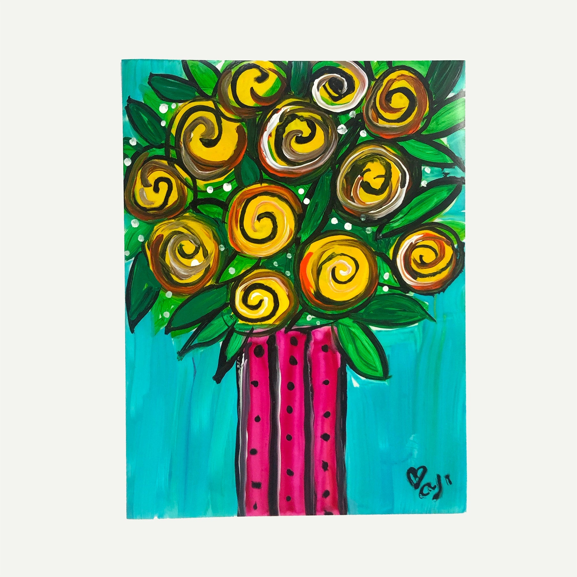 Yellow Roses Painting on Paper - 9 x 12 inches - Whimsical Flower Art on Yupo Paper - Unframed Artwork by Claudine Intner