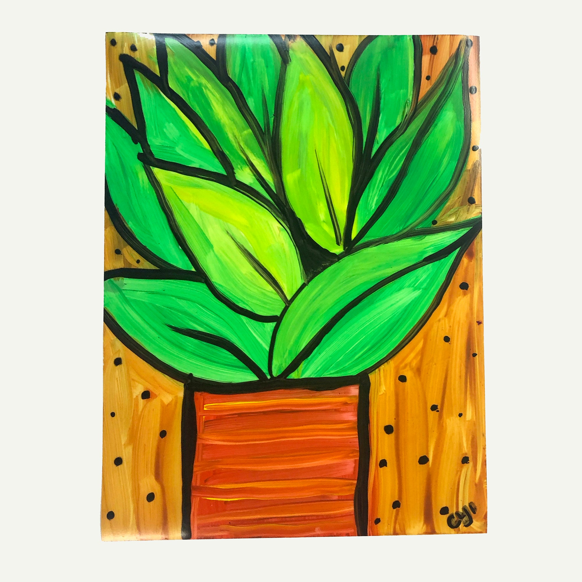 Whimsical Pothos Plant Art on Paper - Leafy Green Pathos Plant Painting on Yupo - 9 x 12 inches, unframed, work on paper