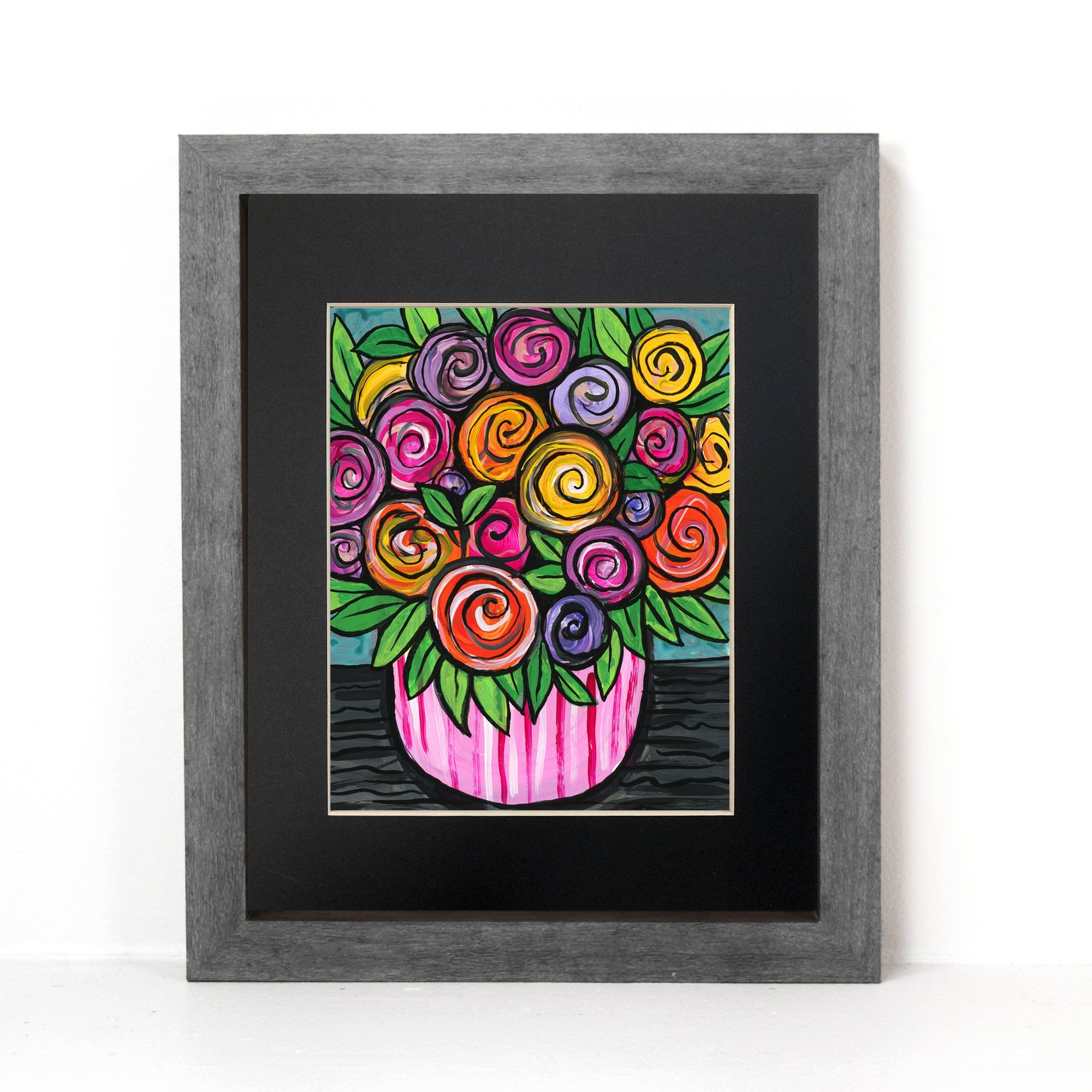Bowl of Roses Print - Colorful Rose Art - Whimsical Floral Still Life - 8x10 with Optional Black Mat by Claudine Intner