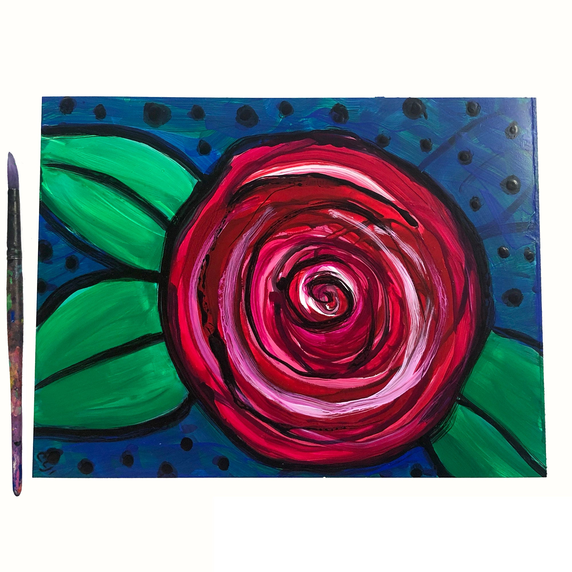Red Rose Art on Paper - 9x12 Original Floral Acrylic Painting on Yupo Paper - Colorful Artwork by Claudine Intner