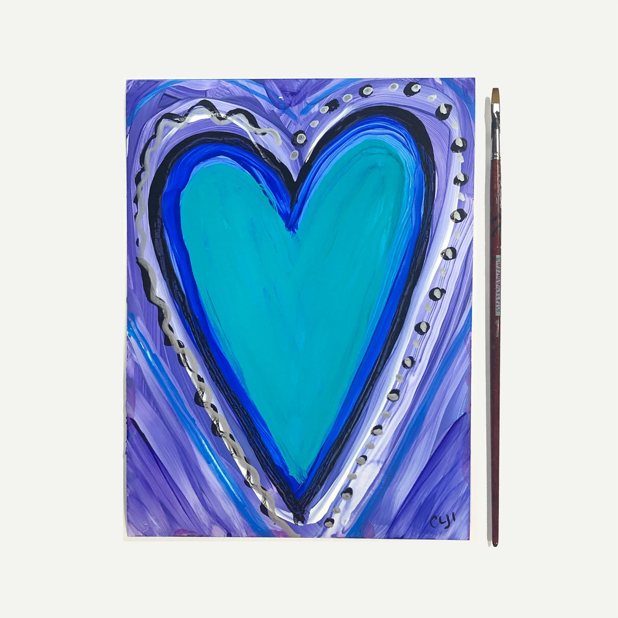 Whimsical Blue Heart Art on Paper - Original Heart Painting on Yupo - 9x12 inches - Unframed - By Claudine Intner