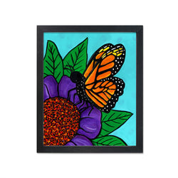 Monarch Butterfly Art Print - Butterfly on Purple and Red Flower - Colorful 8 x 10 inch Insect Print with Optional Black Mat - Animal Art