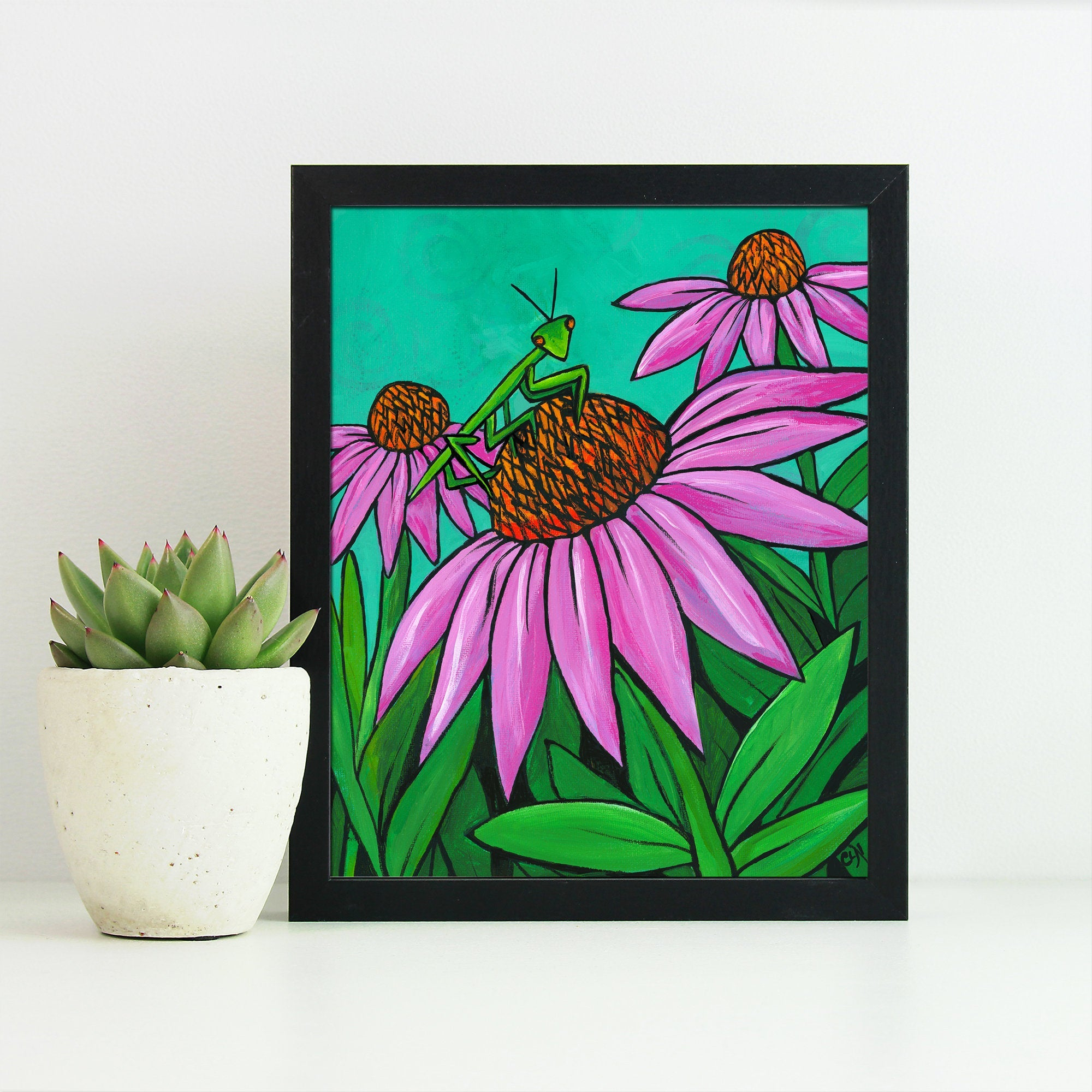 Praying Mantis Art Print - Whimsical Preying Mantis on Coneflower - Colorful 8 x 10 inch Insect Print with Optional Black Mat - Animal Art