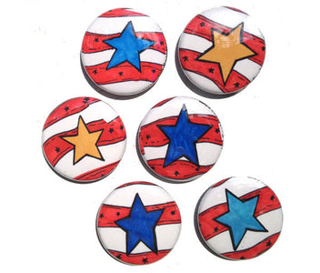 Star Magnets - Star Pinback Buttons, Red White Blue Star Pin Set, Magnet Set, Stars and Stripes, Patriotic, 4th of July, USA, fridge magnets