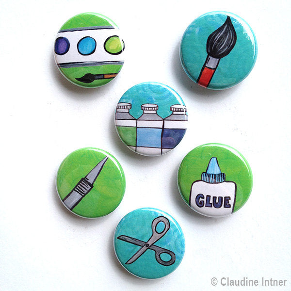 Artist Magnets or Pins - Art Magnet or Pinback Button Set, 1 inch, Paint, Scissors, Glue, Paint brush, Art teacher, artist gift